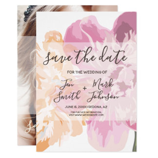 Watercolor Spring  Flowers. Photo Save The Date. Card
