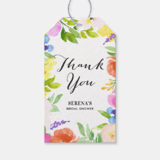 Watercolor Spring Flowers Thank You Gift Tag