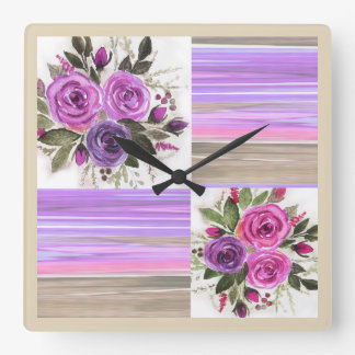 Watercolor . square wall clock