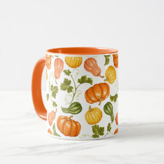 Watercolor Squash, Pumpkin and Leaves Pattern Mug
