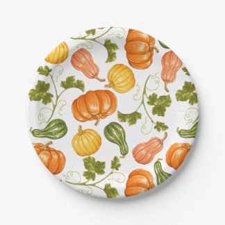 Watercolor Squash, Pumpkin and Leaves Pattern Paper Plate