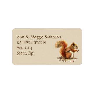Watercolor Squirrel, Animal Nature Address Label
