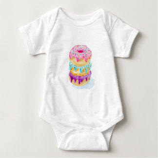 Watercolor stack of donuts baby bodysuit