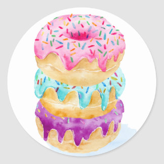 Watercolor stack of donuts classic round sticker