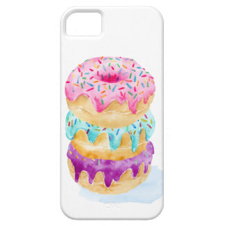 Watercolor stack of donuts iPhone 5 cases