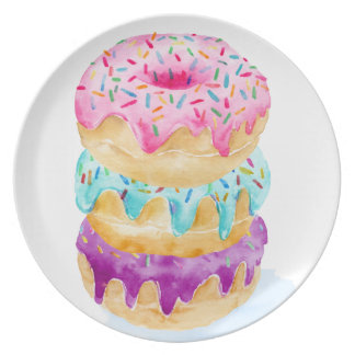 Watercolor stack of donuts plate