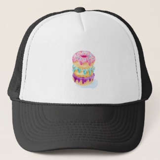 Watercolor stack of donuts trucker hat