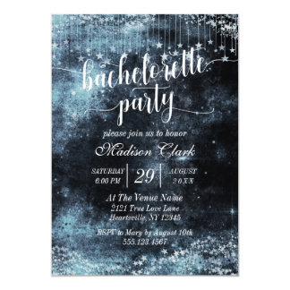 Watercolor Starry Bachelorette Party Invitation
