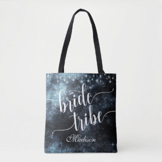 Watercolor Starry Night Bride Tribe Monogram Tote Bag