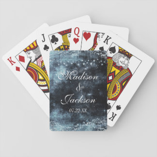 Watercolor Starry Night Celestial Wedding Favor Playing Cards