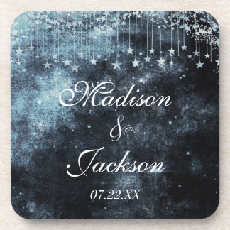Watercolor Starry Night Celestial Wedding Monogram Coasters