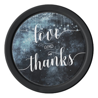 Watercolor Starry Night Galaxy Wedding Thank You Poker Chips Set