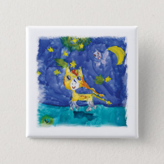 Watercolor Starry Night Pegasus with Bat 15 Cm Square Badge