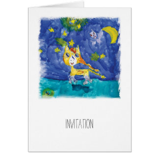 Watercolor Starry Night Pegasus with Bat Card