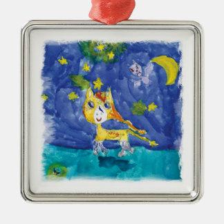 Watercolor Starry Night Pegasus with Bat Metal Ornament