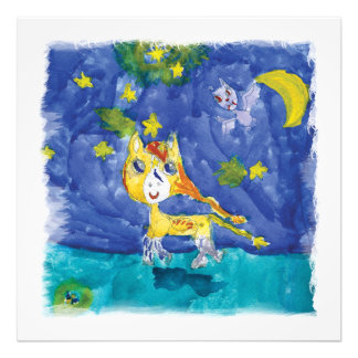 Watercolor Starry Night Pegasus with Bat Photo Print