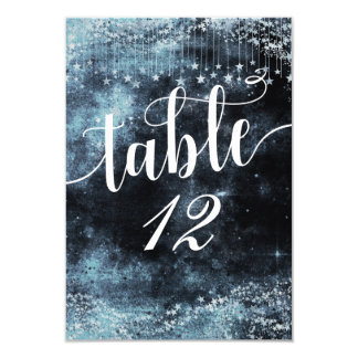 Watercolor Starry Night Table Number Seating Card