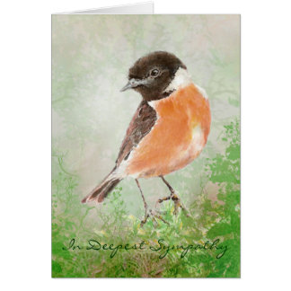 Watercolor Stonechat  Bird Nature Deepest Sympathy Greeting Card