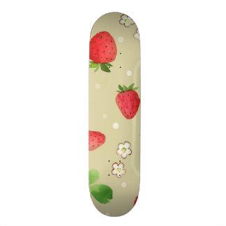 Watercolor strawberries pattern 20 cm skateboard deck