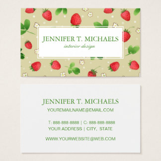 Watercolor strawberries pattern business card