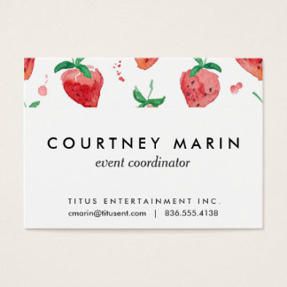 Watercolor Strawberries Pink & Red Painted Berries Business Card