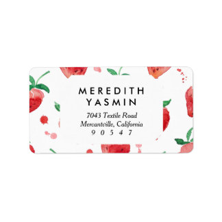 Watercolor Strawberries Pink & Red Painted Berries Label