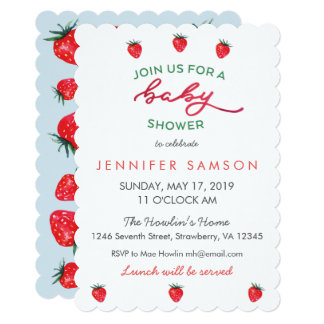 Watercolor Strawberry Baby Shower Invite