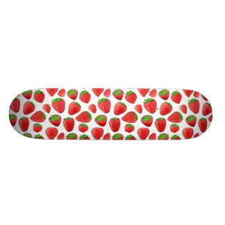 Watercolor Strawberry Custom Skate Board