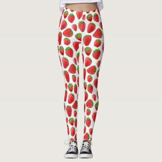 Watercolor Strawberry Leggings
