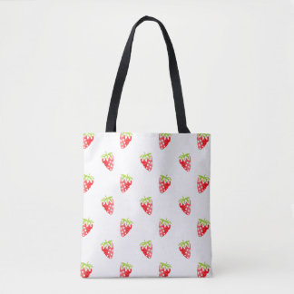 Watercolor Strawberry Pattern Tote Bag