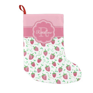 Watercolor Strawberry Pattern with Monogram