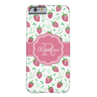 Watercolor Strawberry Pattern with Monogram Barely There iPhone 6 Case