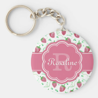 Watercolor Strawberry Pattern with Monogram Basic Round Button Key Ring