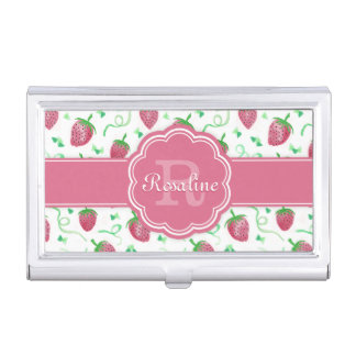 Watercolor Strawberry Pattern with Monogram Business Card Holders