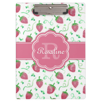 Watercolor Strawberry Pattern with Monogram Clipboard