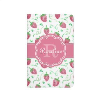 Watercolor Strawberry Pattern with Monogram Journal