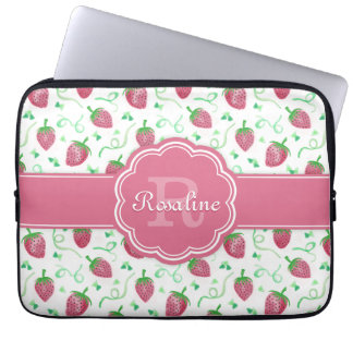 Watercolor Strawberry Pattern with Monogram Laptop Sleeve