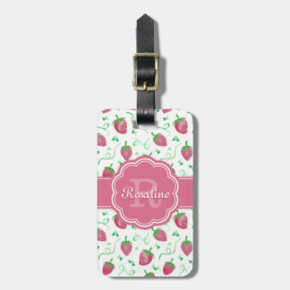 Watercolor Strawberry Pattern with Monogram Luggage Tag