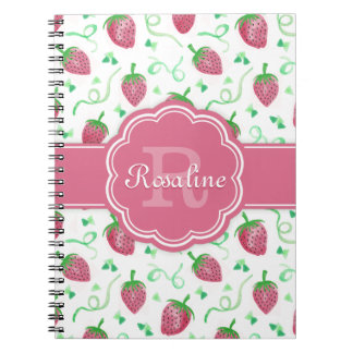 Watercolor Strawberry Pattern with Monogram Notebooks