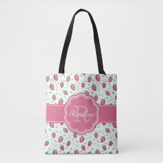 Watercolor Strawberry Pattern with Monogram Tote Bag
