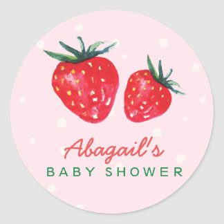Watercolor Strawberry Personalized Baby Shower Classic Round Sticker