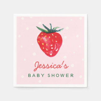 Watercolor Strawberry Personalized Baby Shower Disposable Serviette