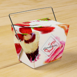 Watercolor Strawberry Sweets Love Monogram Favour Box