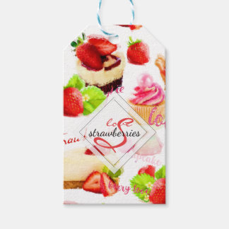 Watercolor Strawberry Sweets Love Monogram Gift Tags