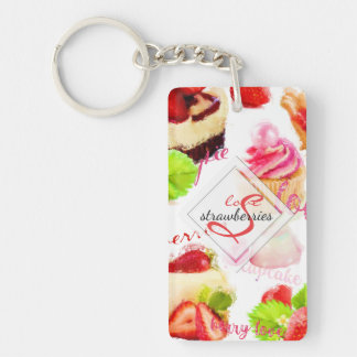 Watercolor Strawberry Sweets Love Monogram Key Ring