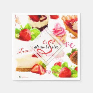 Watercolor Strawberry Sweets Love Monogram Paper Serviettes