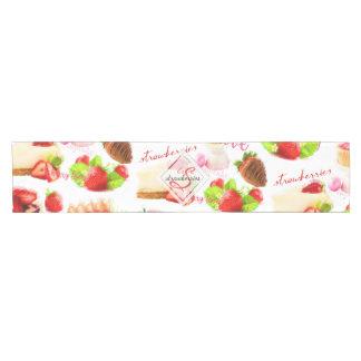 Watercolor Strawberry Sweets Love Monogram Short Table Runner