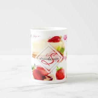 Watercolor Strawberry Sweets Love Monogram Tea Cup