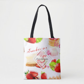 Watercolor Strawberry Sweets Love Monogram Tote Bag