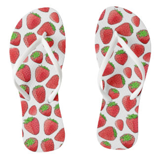 Watercolor Strawberry Thongs